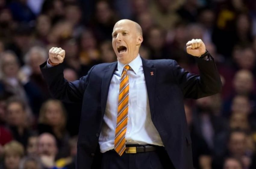 Jan 23, 2016; Minneapolis, MN, USA; Illinois Fighting Illini head coach John Groce in the second half against the Minnesota Gophers at Williams Arena. The Illinois Fighting Illini beat the Minnesota Gophers 76-71. Mandatory Credit: Brad Rempel-USA TODAY Sports