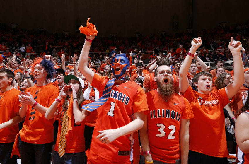 CHAMPAIGN, IL - JANUARY 27: Illinois Fighting Illinois fans cheer against the Michigan Wolverines during the game at Assembly Hall on January 27, 2013 in Champaign, Illinois. Michigan defeated Illinois 74-60. (Photo by Joe Robbins/Getty Images)