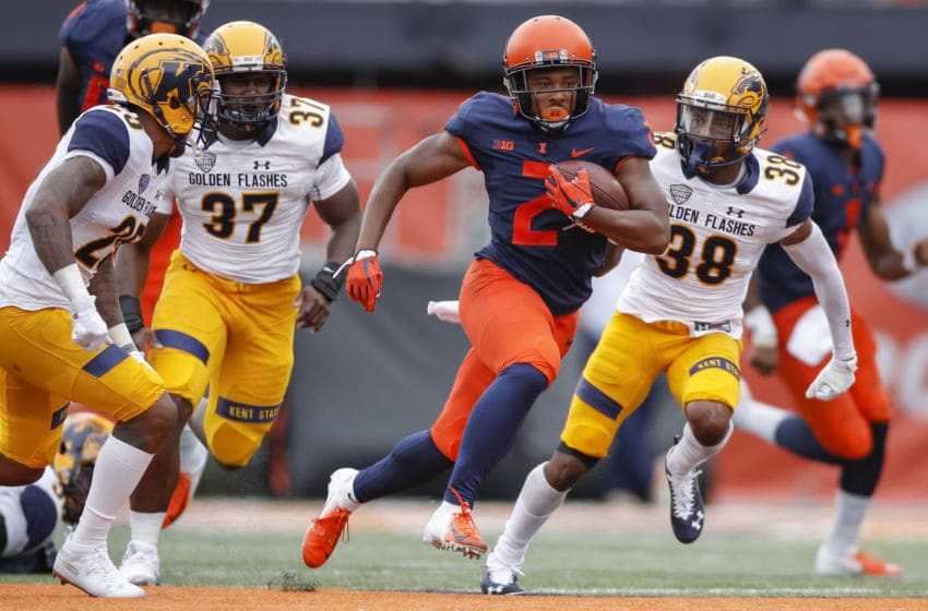 CHAMPAIGN, IL - SEPTEMBER 01: Reggie Corbin #2 of the Illinois Fighting Illini runs the ball during the game against the Kent State Golden Flashes at Memorial Stadium on September 1, 2018 in Champaign, Illinois. (Photo by Michael Hickey/Getty Images)