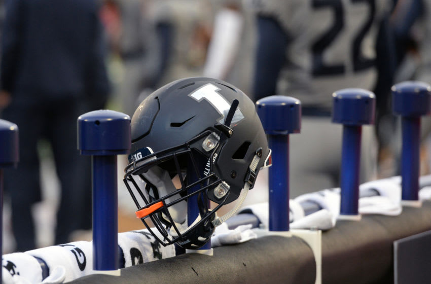 CHAMPAIGN, IL - OCTOBER 13: An Illinois Fighting Illini helmet sits on top of a dryer on the sidelines during the Big Ten Conference college football game between the Purdue Boilermakers and the Illinois Fighting Illini on October 13, 2018, at Memorial Stadium in Champaign, Illinois. (Photo by Michael Allio/Icon Sportswire via Getty Images)