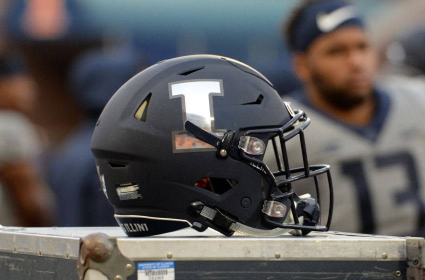 CHAMPAIGN, IL - OCTOBER 13: An Illinois Fighting Illini helmet sits on the sidelines during the Big Ten Conference college football game between the Purdue Boilermakers and the Illinois Fighting Illini on October 13, 2018, at Memorial Stadium in Champaign, Illinois. (Photo by Michael Allio/Icon Sportswire via Getty Images)