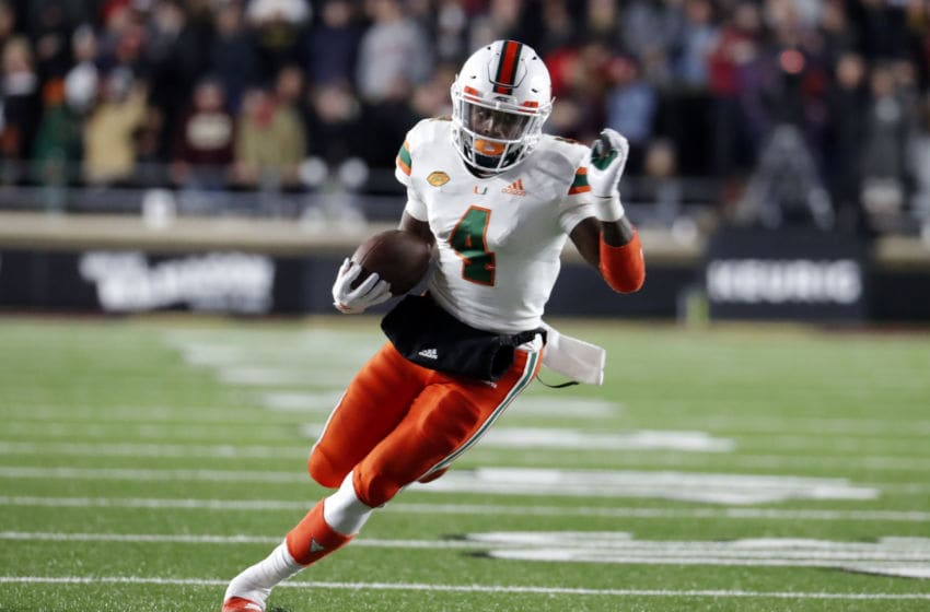 CHESTNUT HILL, MA - OCTOBER 26: Miami Hurricanes wide receiver Jeff Thomas (4) carries the ball during a game between the Boston College Eagles and the Miami Hurricanes on October 26, 2018, at Alumni Stadium in Chestnut Hill, Massachusetts. (Photo by Fred Kfoury III/Icon Sportswire via Getty Images)