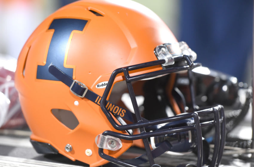COLLEGE PARK, MD - OCTOBER 27: An Illinois Fighting Illini football helmet during a college football game against the Maryland Terrapins at Capitol One Field at Maryland Stadium on October 27, 2018 at College Park, Maryland. (Photo by Mitchell Layton/Getty Images) *** Local Caption ***