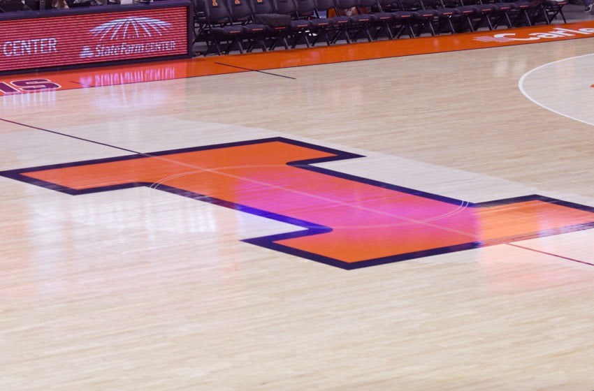 CHAMPAIGN , IL - NOVEMBER 13: The Illinois Fighting Illini logo on the floor before a college basketball game against the Georgetown Hoyas at the State Farm Center on November 13, 2018 in Champaign, Illinois. (Photo by Mitchell Layton/Getty Images) *** Local Caption ***
