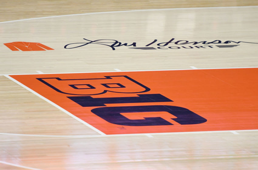 CHAMPAIGN , IL - NOVEMBER 13: The Big 10 logo on the floor before a college basketball game between the Georgetown Hoyas and the Illinois Fighting Illini at the State Farm Center on November 13, 2018 in Champaign, Illinois. (Photo by Mitchell Layton/Getty Images) *** Local Caption ***