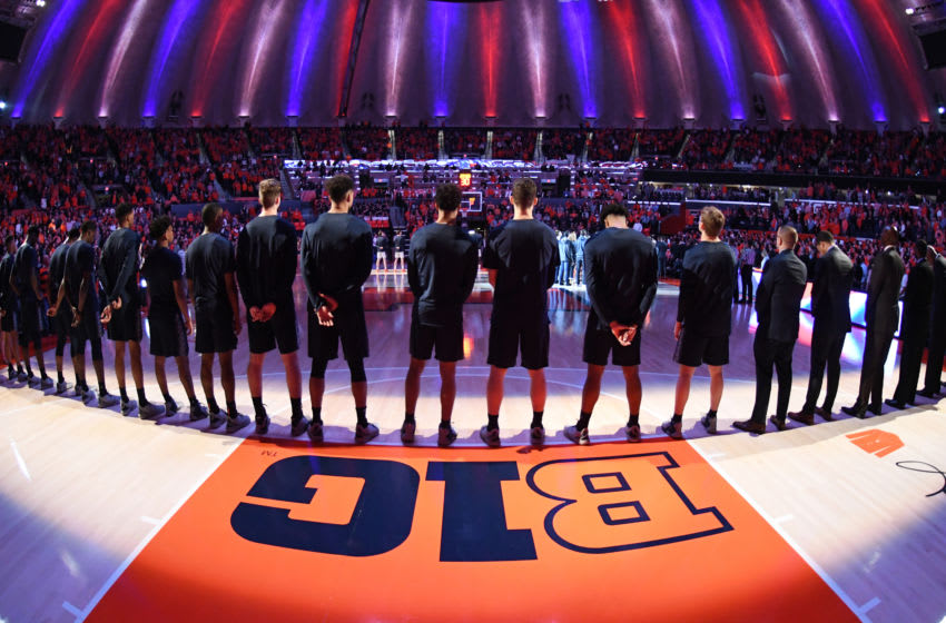 CHAMPAIGN , IL - NOVEMBER 13: The Georgetown Hoyas line up for the National Anthem before a college basketball game against the Illinois Fighting Illini at the State Farm Center on November 13, 2018 in Champaign, Illinois. (Photo by Mitchell Layton/Getty Images) *** Local Caption ***