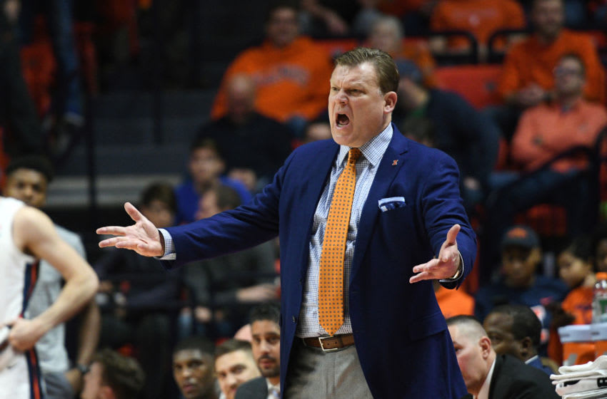 CHAMPAIGN, IL - DECEMBER 29: Illinois Fighting Illini Head Coach Brad Underwood shouts across the court during the college basketball game between the Florida Atlantic University Owls and the Illinois Fighting Illini on December 29, 2018, at the State Farm Center in Champaign, Illinois. (Photo by Michael Allio/Icon Sportswire via Getty Images)