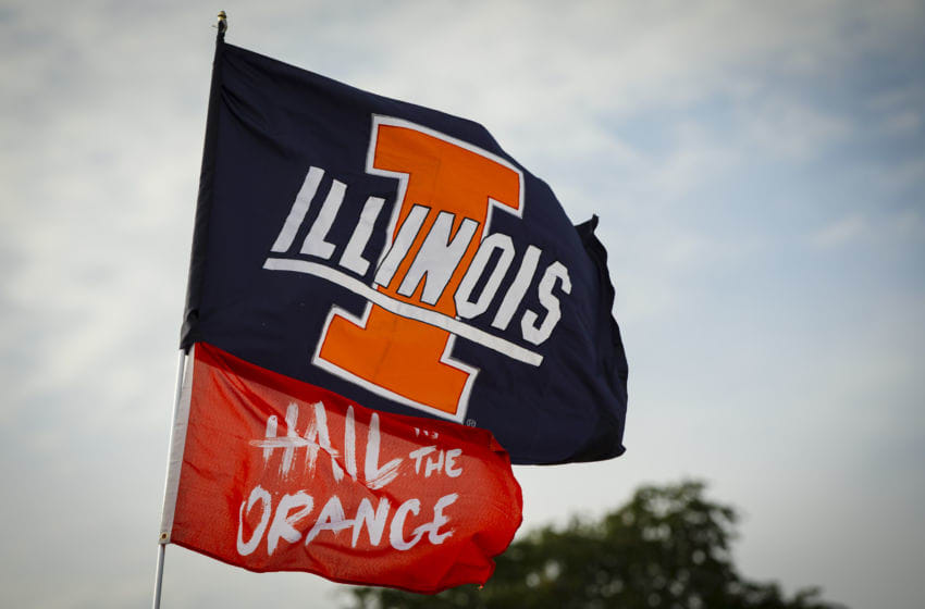CHAMPAIGN, IL - SEPTEMBER 21: An Illinois Fighting Illini flag is seen in the tailgate lot before the game against the Nebraska Cornhuskers at Memorial Stadium on September 21, 2019 in Champaign, Illinois. (Photo by Michael Hickey/Getty Images)
