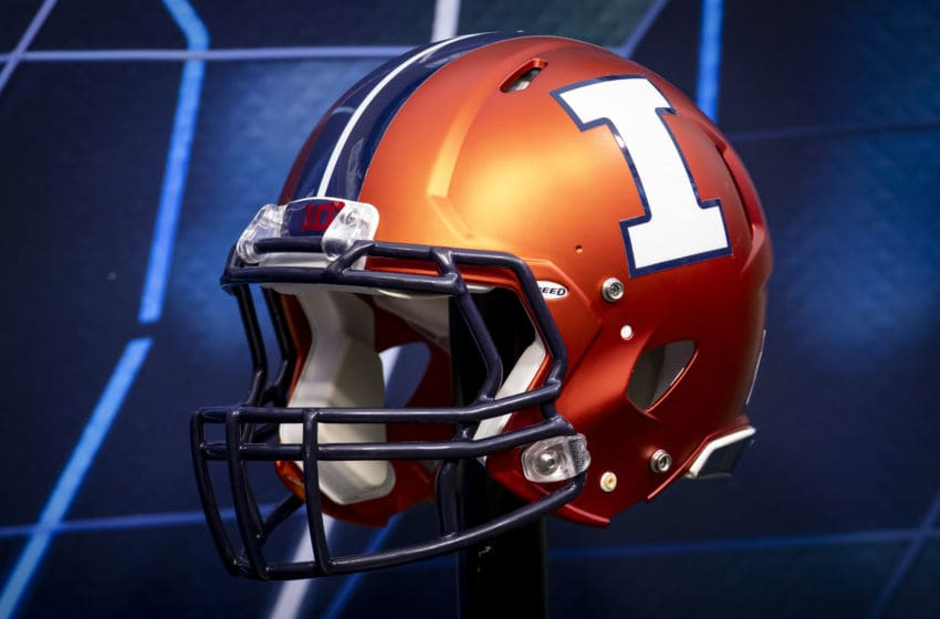 CHAMPAIGN, IL - SEPTEMBER 21: An Illinois Fighting Illini helmet is seen before the game against the Nebraska Cornhuskers at Memorial Stadium on September 21, 2019 in Champaign, Illinois. (Photo by Michael Hickey/Getty Images)
