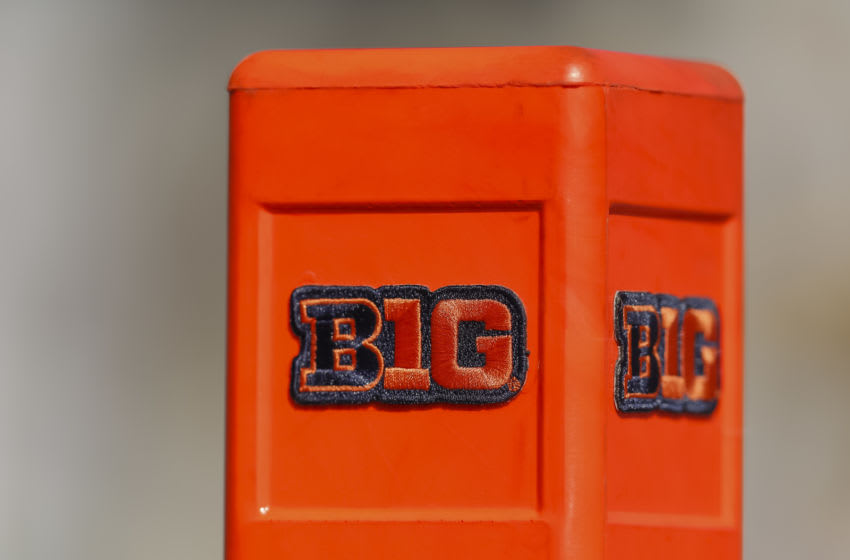 CHAMPAIGN, IL - OCTOBER 12: A detailed view of a Big Ten end zone pylon seen before the Illinois Fighting Illini and Michigan Wolverines game at Memorial Stadium on October 12, 2019 in Champaign, Illinois. (Photo by Michael Hickey/Getty Images)