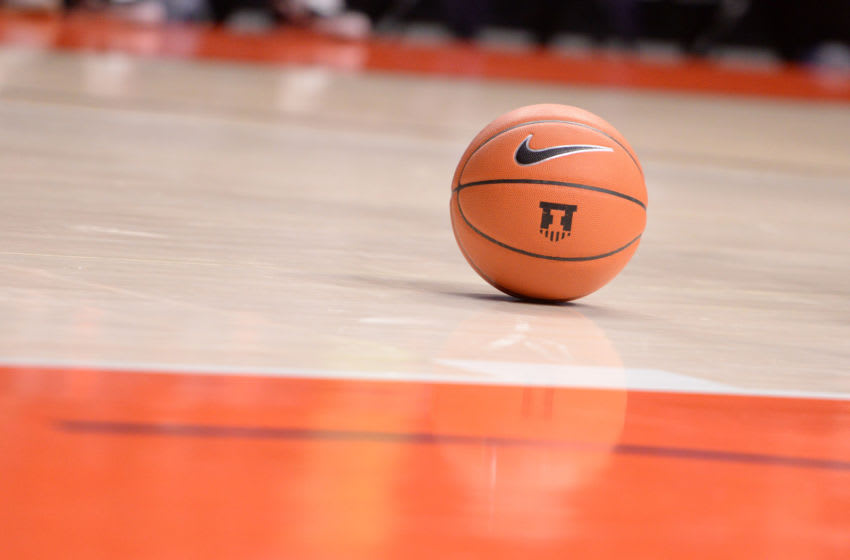 CHAMPAIGN, IL - NOVEMBER 18: A. Illinois Fighting Illini logo is seen on the side of a basketball before the start of the during the college basketball game between the Hawaii Rainbow Warriors and the Illinois Fighting Illini on November 18, 2019, at the State Farm Center in Champaign, Illinois. (Photo by Michael Allio/Icon Sportswire via Getty Images)