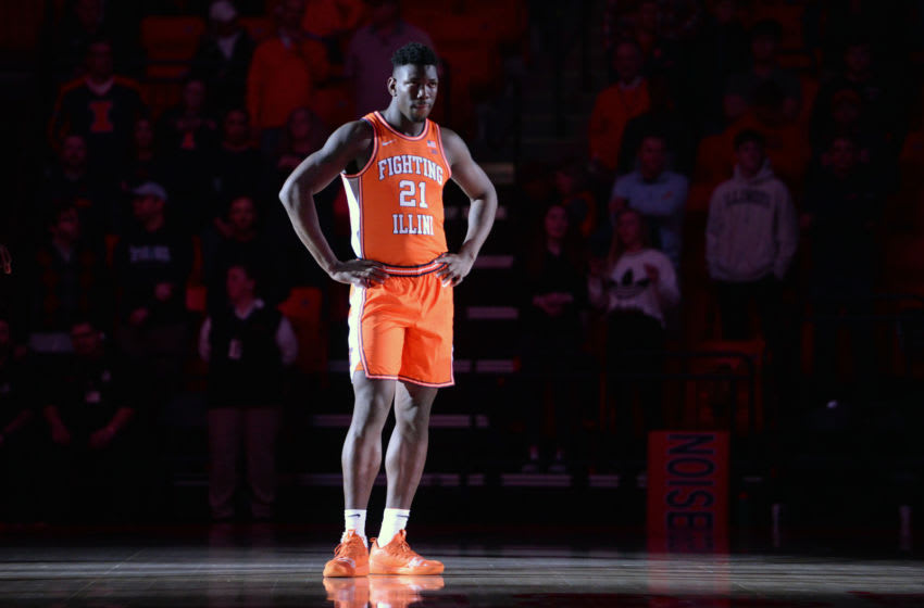 CHAMPAIGN, IL - NOVEMBER 20: Illinois Fighting Illini center Kofi Cockburn (21) stands on the court during player introductions before the start of the college basketball game between the Citadel Bulldogs and the Illinois Fighting Illini on November 20, 2019, at the State Farm Center in Champaign, Illinois. (Photo by Michael Allio/Icon Sportswire via Getty Images)
