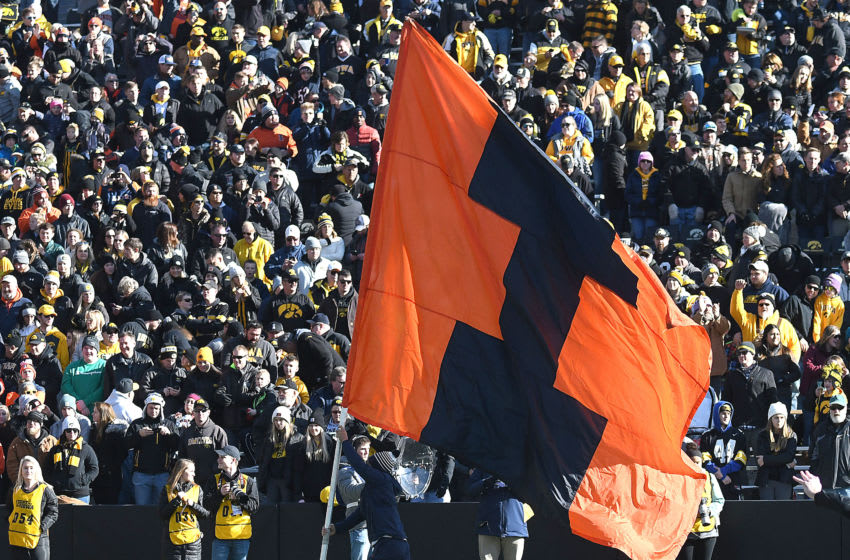 IOWA CITY, IA. - NOVEMBER 23: The Illinois block I flag as seen during a Big Ten Conference college football game between the Illinois Fighting Illini and the Iowa Hawkeyes on November 23, 2019, at Kinnick Stadium, Iowa City, IA. Photo by Keith Gillett/Icon Sportswire via Getty Images)