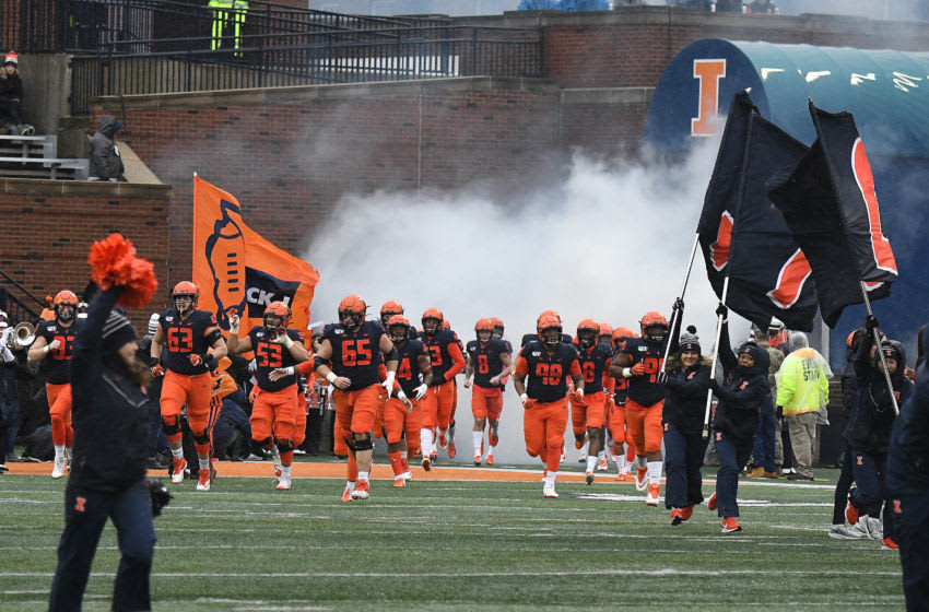 CHAMPAIGN, IL. - NOVEMBER 30: The Fighting Illini take the field before a Big Ten Conference college football game between the Northwestern Wildcats and the IIllinois Fighting Illini on November 30, 2019, at Memorial Stadium, Champaign, IL. Photo by Keith Gillett/Icon Sportswire via Getty Images)