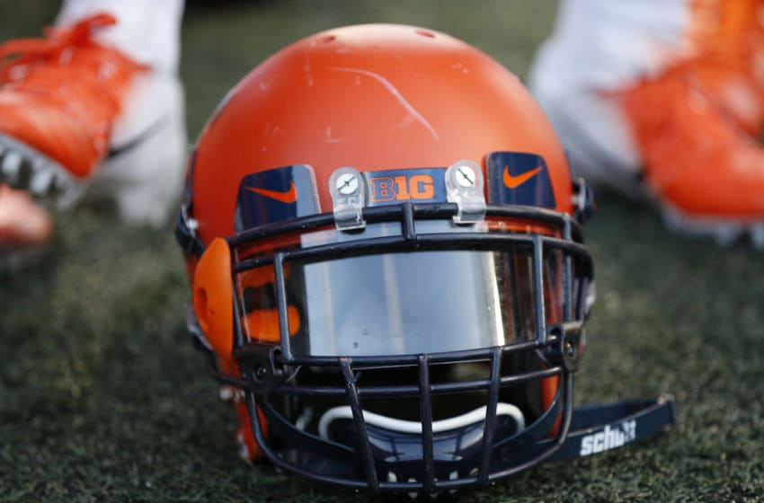 CHAMPAIGN, ILLINOIS - NOVEMBER 02: The Illinois Fighting Illini helmet on the field after a win over the Rutgers Scarlet Knights at Memorial Stadium on November 02, 2019 in Champaign, Illinois. (Photo by Justin Casterline/Getty Images)