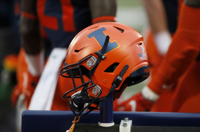 CHAMPAIGN, ILLINOIS - NOVEMBER 02: The Illinois Fighting Illini helmet on the field in the game against the Rutgers Scarlet Knights at Memorial Stadium on November 02, 2019 in Champaign, Illinois. (Photo by Justin Casterline/Getty Images)