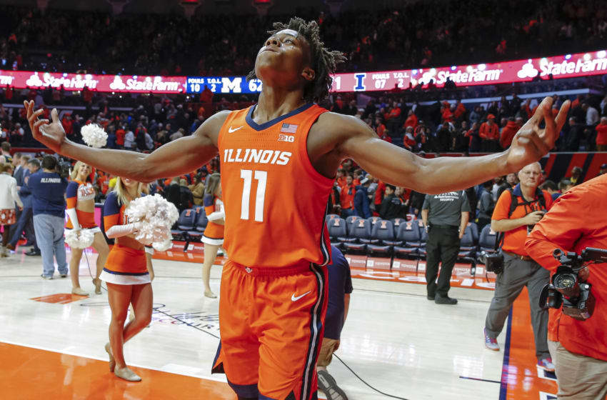 CHAMPAIGN, IL - DECEMBER 11: Ayo Dosunmu #11 of the Illinois Fighting Illini celebrates after the game against the Michigan Wolverines at State Farm Center on December 11, 2019 in Champaign, Illinois. (Photo by Michael Hickey/Getty Images)