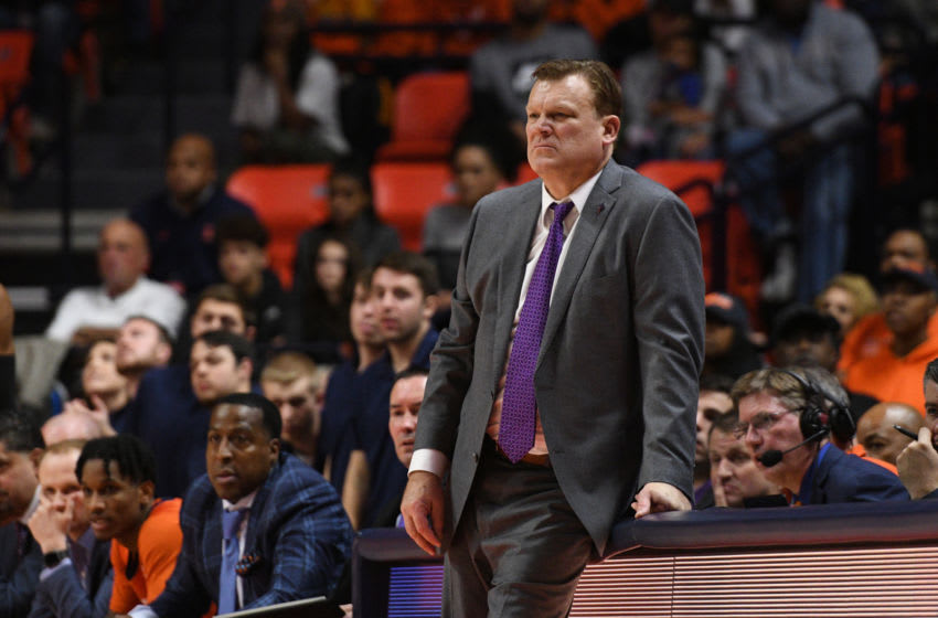 CHAMPAIGN, IL - DECEMBER 11: Illinois Fighting Illini head coach Brad Underwood leans on the scorers table during the Big Ten Conference college basketball game between the Michigan Wolverines and the Illinois Fighting Illini on December 11, 2019, at the State Farm Center in Champaign, Illinois. (Photo by Michael Allio/Icon Sportswire via Getty Images)