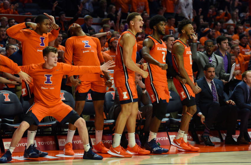 CHAMPAIGN, IL - DECEMBER 11: The Illinois bench reacts during a college basketball game between the Michigan Wolverines and Illinois Fighting Illini on December 11, 2019 at the State Farm Center in Champaign, Illinois. (Photo by James Black/Icon Sportswire via Getty Images)