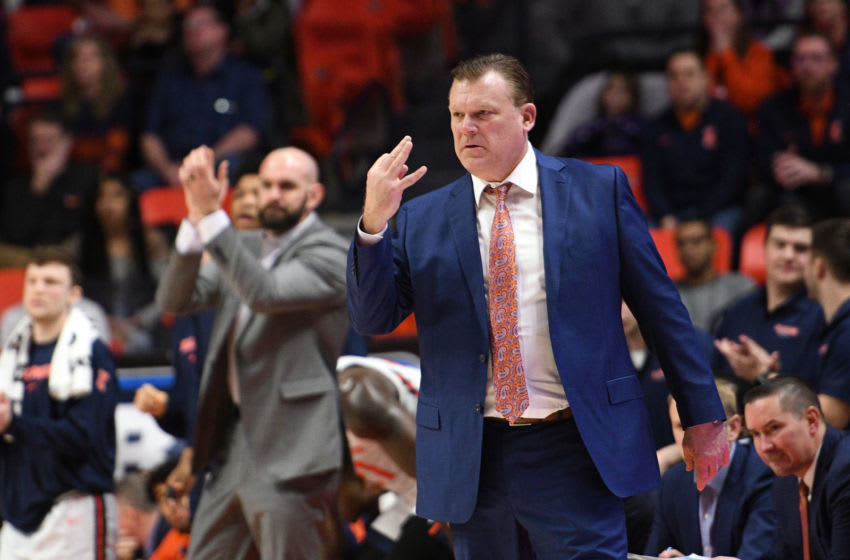 CHAMPAIGN, IL - JANUARY 11: Illinois Fighting Illini head coach Brad Underwood signals a play during the Big Ten Conference college basketball game between the Rutgers Scarlet Knights and the Illinois Fighting Illini on January 11, 2020, at the State Farm Center in Champaign, Illinois. (Photo by Michael Allio/Icon Sportswire via Getty Images)