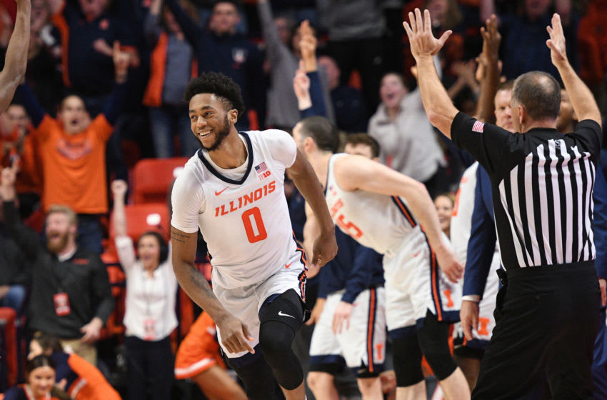 CHAMPAIGN, IL - JANUARY 11: Illinois Fighting Illini guard Alan Griffin (0) reacts after a play during the Big Ten Conference college basketball game between the Rutgers Scarlet Knights and the Illinois Fighting Illini on January 11, 2020, at the State Farm Center in Champaign, Illinois. (Photo by Michael Allio/Icon Sportswire via Getty Images)