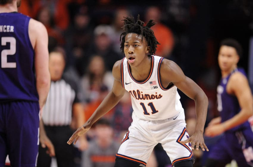 CHAMPAIGN, IL - JANUARY 18: Illinois Fighting Illini guard AyoDosunmu (11) gets into a defensive position during the Big Ten Conference college basketball game between the Northwestern Wildcats and the Illinois Fighting Illini on January 18, 2020, at the State Farm Center in Champaign, Illinois. (Photo by Michael Allio/Icon Sportswire via Getty Images)