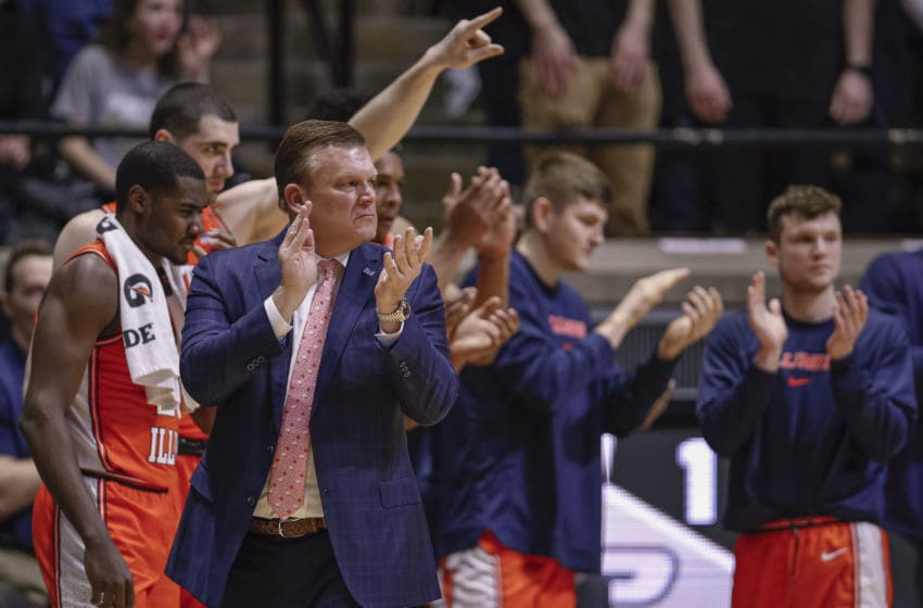 WEST LAFAYETTE, IN - JANUARY 21: Head coach Brad Underwood of the Illinois Fighting Illini is seen during the game against the Purdue Boilermakers at Mackey Arena on January 21, 2020 in West Lafayette, Indiana. (Photo by Michael Hickey/Getty Images)