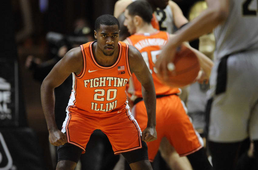 WEST LAFAYETTE, IN - JANUARY 21: Illinois Fighting Illini guard Da'Monte Williams (20) clinches his fists as he gets into a defensive position during the Big Ten Conference college basketball game between the Illinois Fighting Illini and the Purdue Boilermakers on January 21, at Mackey Arena in West Lafayette, Indiana. (Photo by Michael Allio/Icon Sportswire via Getty Images)