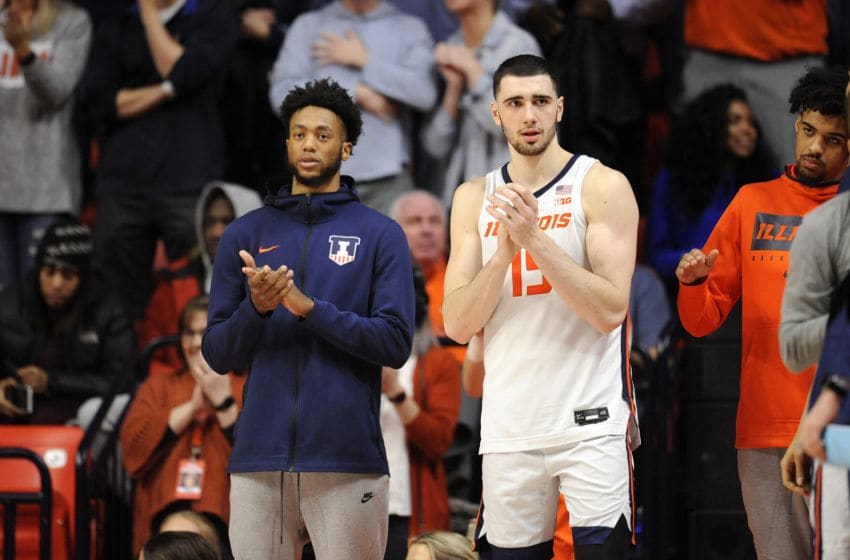 CHAMPAIGN, IL - JANUARY 30: Illinois Fighting Illini forward GiorgiBezhanishvili (15) and Illinois Fighting Illini guard AlanGriffin (0) clap for their team during the Big Ten Conference college basketball game between the Minnesota Golden Gophers and the Illinois Fighting Illini on January 30, 2020, at the State Farm Center in Champaign, Illinois. (Photo by Michael Allio/Icon Sportswire via Getty Images)