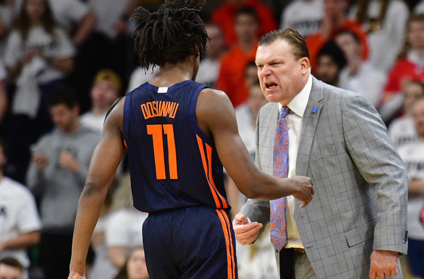 IOWA CITY. IA- FEBRUARY 02: Illinois head coach Brad Underwood has words with Illinois guard Ayo Dosunmu (11) during a time out during a Big Ten Conference basketball game between the Illinois Fighting Illini and the Iowa Hawkeyes at Carver-Hawkeye Arena, Iowa City Ia, on February 02, 2020. Photo by Keith Gillett/Icon Sportswire via Getty Images)