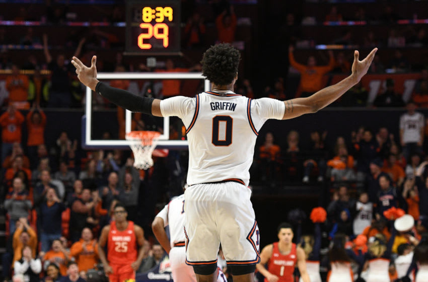CHAMPAIGN, IL - FEBRUARY 07: Illinois Fighting Illini guard Alan Griffin (0) puts his arms up after making a shot during the Big Ten Conference college basketball game between the Maryland Terrapins and the Illinois Fighting Illini on February 7, 2020, at the State Farm Center in Champaign, Illinois. (Photo by Michael Allio/Icon Sportswire via Getty Images)