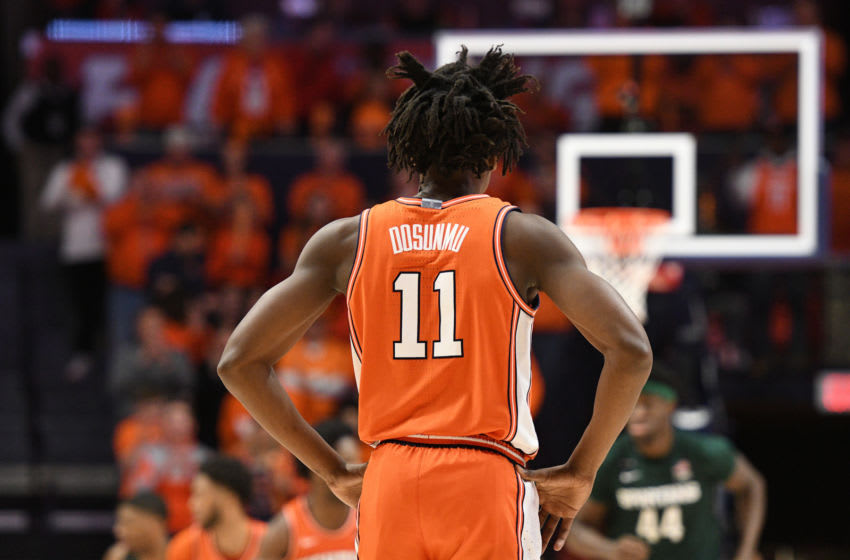 CHAMPAIGN, IL - FEBRUARY 11: Illinois Fighting Illini guard AyoDosunmu (11) stands near mid-court during the Big Ten Conference college basketball game between the Michigan State Spartans and the Illinois Fighting Illini on February 11, 2020, at the State Farm Center in Champaign, Illinois. (Photo by Michael Allio/Icon Sportswire via Getty Images)