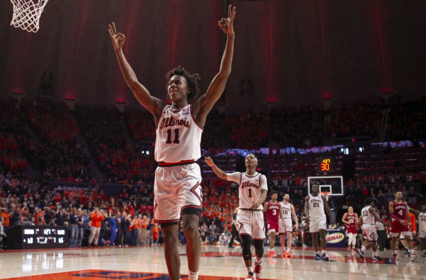 CHAMPAIGN, IL - MARCH 01: Ayo Dosunmu #11 of the Illinois Fighting Illini celebrates after a three point basket during the second half against the Indiana Hoosiers at State Farm Center on March 1, 2020 in Champaign, Illinois. (Photo by Michael Hickey/Getty Images)