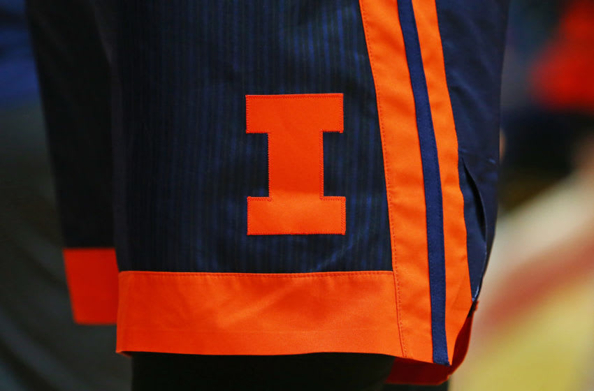 PISCATAWAY, NJ - FEBRUARY 15: The logo of the Illinois Fighting Illini on the uniform shorts during in a college basketball game against the Rutgers Scarlet Knights at Rutgers Athletic Center on February 15, 2020 in Piscataway, New Jersey. (Photo by Rich Schultz/Getty Images)