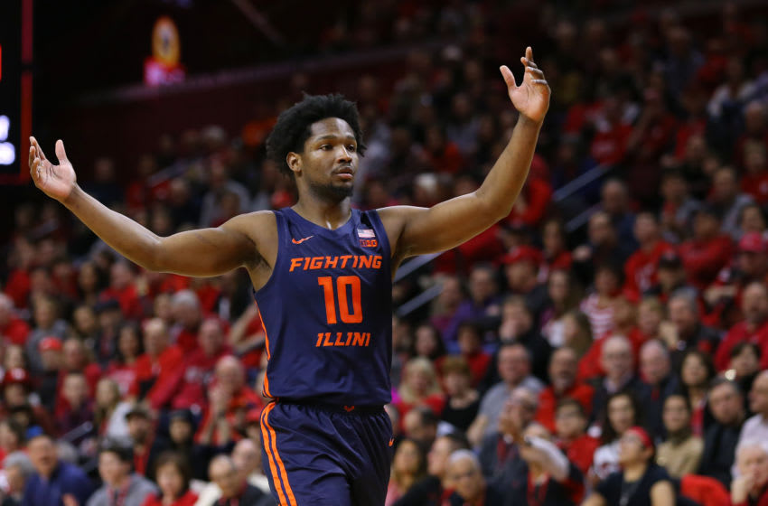PISCATAWAY, NJ - FEBRUARY 15: Andres Feliz #10 of the Illinois Fighting Illini in action against the Rutgers Scarlet Knights during in a college basketball game at Rutgers Athletic Center on February 15, 2020 in Piscataway, New Jersey. (Photo by Rich Schultz/Getty Images)