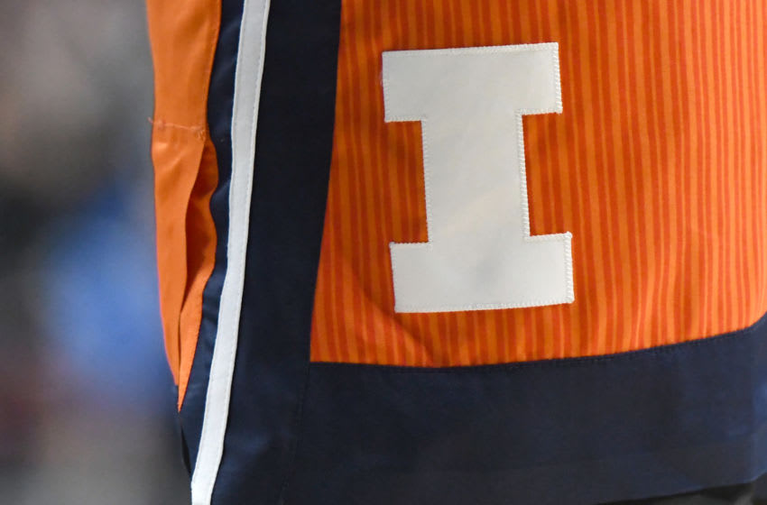 UNIVERSITY PARK, PA - FEBRUARY 18: The Illinois Fighting Illini logo on a pair of shorts during a college basketball game against the Penn State Nittany Lions at the Bryce Jordan Center on February 18, 2020 in University Park, Pennsylvania. (Photo by Mitchell Layton/Getty Images) *** Local Caption ***