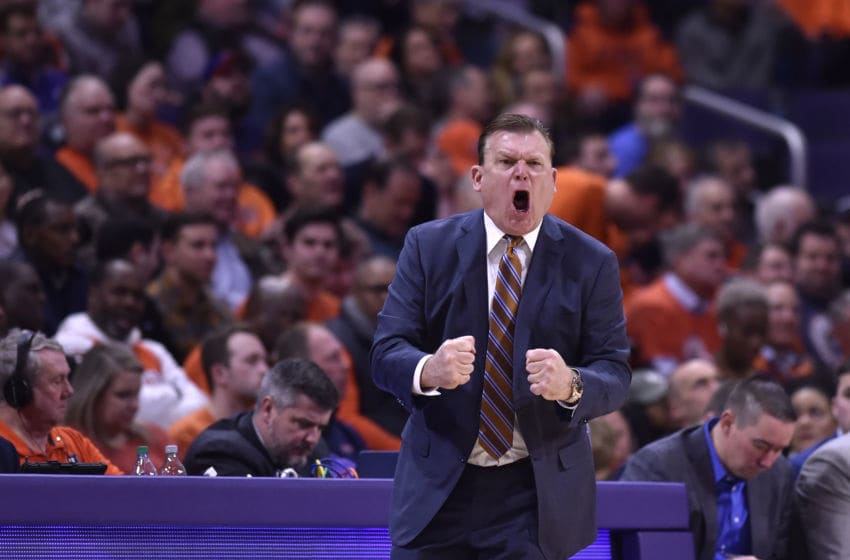 EVANSTON, ILLINOIS - FEBRUARY 27: Head coach Brad Underwood of the Illinois Fighting Illini reacts in the second half against the Northwestern Wildcats at Welsh-Ryan Arena on February 27, 2020 in Evanston, Illinois. (Photo by Quinn Harris/Getty Images)