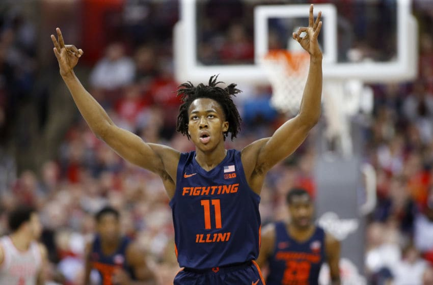 COLUMBUS, OHIO - MARCH 05: Ayo Dosunmu #11 of the Illinois Fighting Illini celbrates after making a three pointer in the game against the Ohio State Buckeyes during the first half at Value City Arena on March 05, 2020 in Columbus, Ohio. (Photo by Justin Casterline/Getty Images)