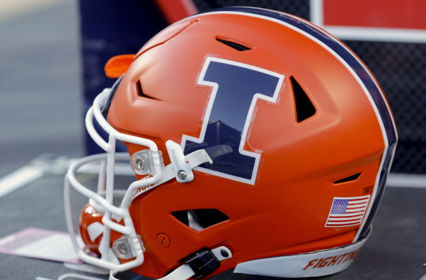 WEST LAFAYETTE, IN - SEPTEMBER 25: An Illinois Fighting Illini helmet is seen during the game against the Purdue Boilermakers at Ross-Ade Stadium on September 25, 2021 in West Lafayette, Indiana. (Photo by Michael Hickey/Getty Images)