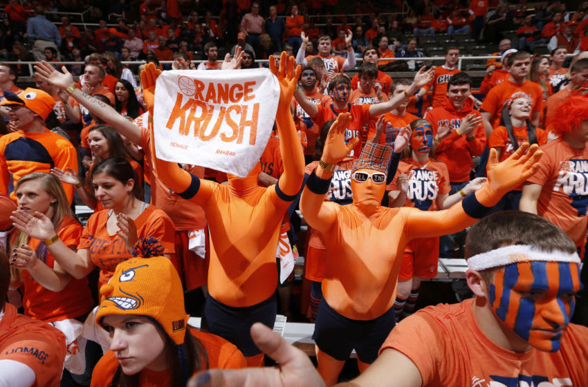 CHAMPAIGN, IL - NOVEMBER 28: Illinois Fighting Illini fans in the Orange Krush section cheer against the Georgia Tech Yellow Jackets during the ACC/Big Ten Challenge at Assembly Hall on November 28, 2012 in Champaign, Illinois. Illinois won 75-62. (Photo by Joe Robbins/Getty Images)