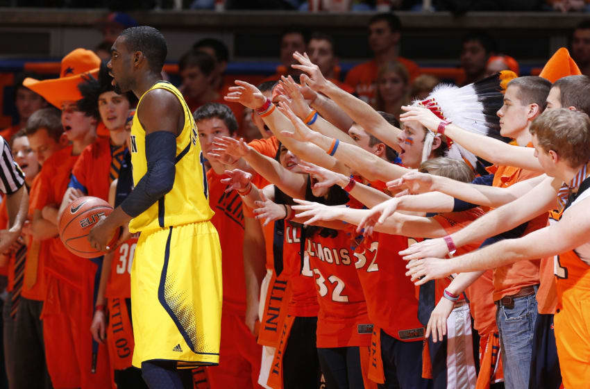 CHAMPAIGN, IL - JANUARY 27: Illinois Fighting Illini fans try to distract Tim Hardaway Jr.