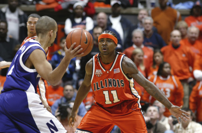 CHAMPAIGN, IL - FEBRUARY 23: Dee Brown #11 of the Illinois Fighting Illini defends during a game against the Northwestern Wildcats at Assembly Hall on February 23, 2005 in Champaign, Illinois. Illinois defeated Northwestern 84-48 during their run to the Final Four. (Photo by Joe Robbins/Getty Images)
