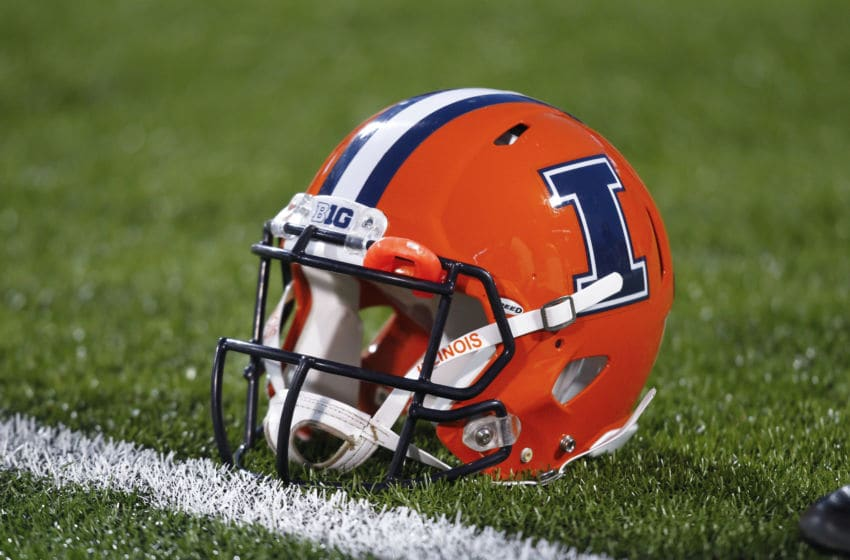 CHAMPAIGN, IL - OCTOBER 19: General view of an Illinois Fighting Illini helmet before the game against the Wisconsin Badgers at Memorial Stadium on October 19, 2013 in Champaign, Illinois. Wisconsin defeated Illinois 56-32. (Photo by Michael Hickey/Getty Images)