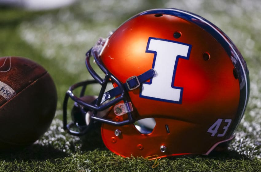 CHAMPAIGN, IL - SEPTEMBER 10: General view of a Illinois Fighting Illini helmet seen during the game against the North Carolina Tar Heels at Memorial Stadium on September 10, 2016 in Champaign, Illinois. (Photo by Michael Hickey/Getty Images)