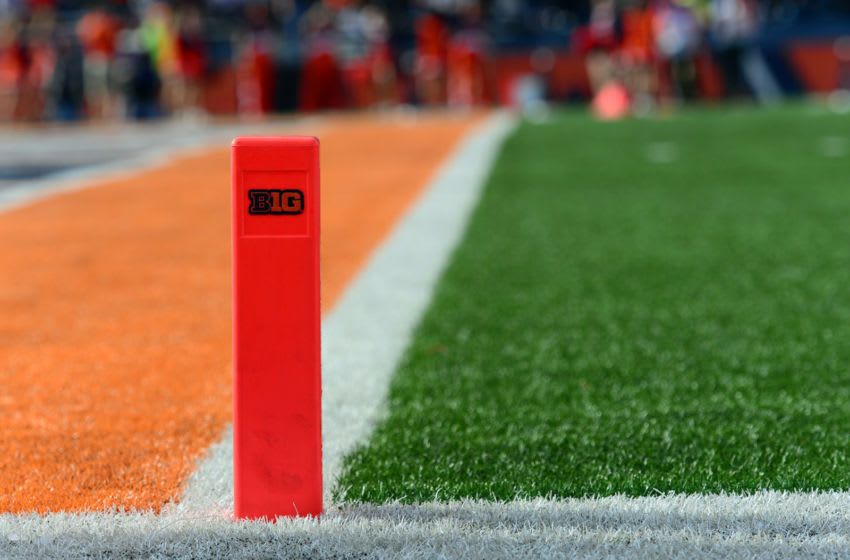 CHAMPAIGN, IL - NOVEMBER 05: The end zone pylon displays the Big Ten logo during the Big Ten Conference game between the Michigan State Spartans and the Illinois Fighting Illini on November 5, 2016, at Memorial Stadium in Champaign, Illinois. (Photo by Michael Allio/Icon Sportswire via Getty Images)