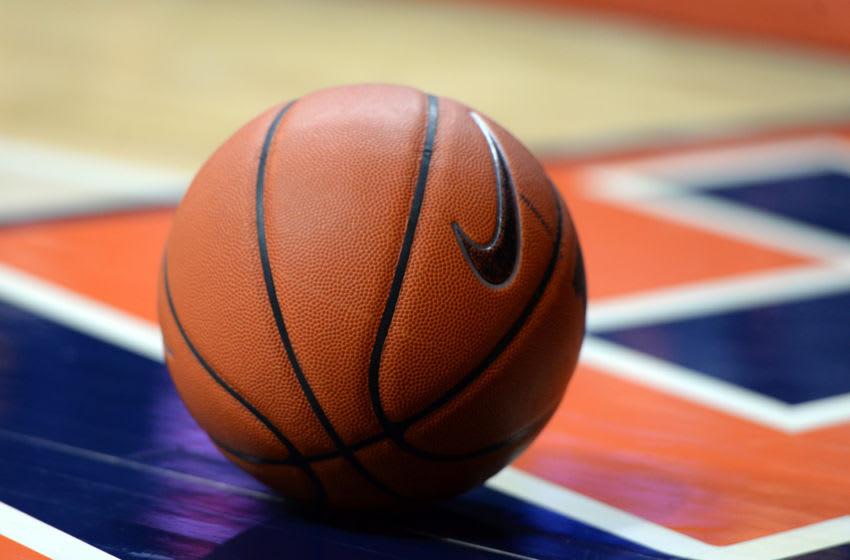 CHAMPAIGN, IL - JANUARY 11: A basketball rolls off the court during a timeout in the Big Ten Conference game between the Michigan Wolverines and the Illinois Fighting Illini on January 11, 2017, at the State Farm Center in Champaign, Illinois. (Photo by Michael Allio/Icon Sportswire via Getty Images)