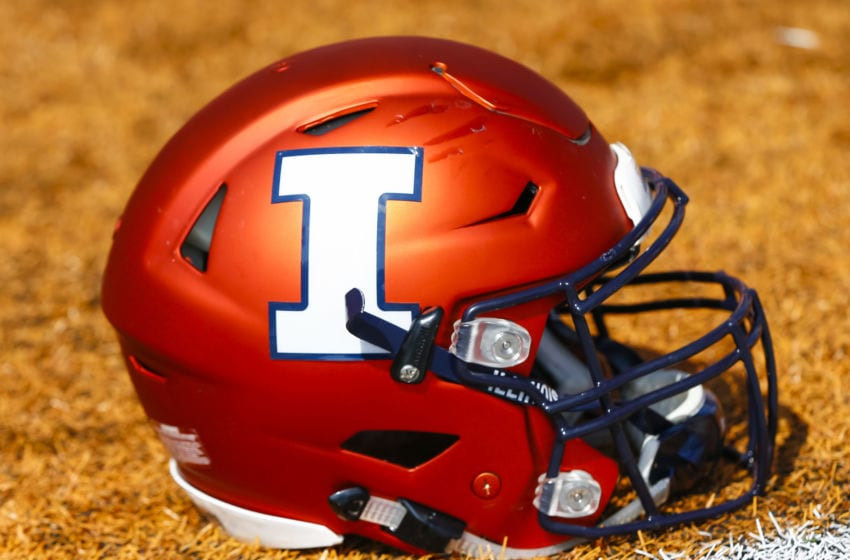 CHAMPAIGN, IL - SEPTEMBER 02: An Illinois Fighting Illini helmet is seen during the game against the Ball State Cardinals at Memorial Stadium on September 2, 2017 in Champaign, Illinois. (Photo by Michael Hickey/Getty Images)