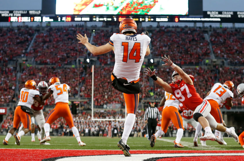 COLUMBUS, OH - NOVEMBER 18: Blake Hayes #14 of the Illinois Fighting Illini gets the punt off as Nick Bosa #97 of the Ohio State Buckeyes attempts to block the kick during the first quarter on November 18, 2017 at Ohio Stadium in Columbus, Ohio. Ohio State defeated Illinois 52-14. (Photo by Kirk Irwin/Getty Images)