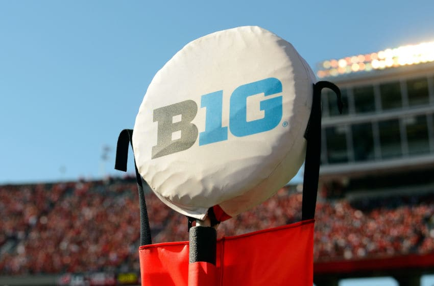 MADISON, WI - OCTOBER 21: The Big Ten logo on a yardage marker at the game between the Maryland Terrapins and the Wisconsin Badgers at Camp Randall Stadium on October 21, 2017 in Madison, Wisconsin. (Photo by G Fiume/Maryland Terrapins/Getty Images)