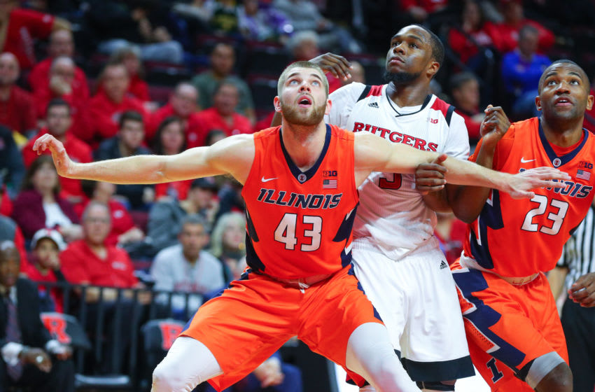 PISCATAWAY, NJ - FEBRUARY 25: Illinois Fighting Illini forward Michael Finke (43) boxes out during the second half of the College Basketball Game between the Rutgers Scarlet Knights and the Illinois Fighting Illini on February 25, 2018, at the Louis Brown Athletic Center in Piscataway, NJ. (Photo by Rich Graessle/Icon Sportswire via Getty Images)